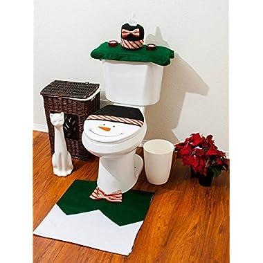 Youbedo Christmas Santa Snowman Bathroom Toilet Seat Cover and Rug Set 4 pcs