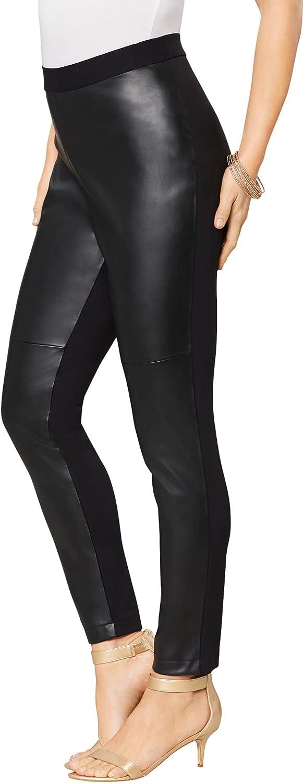 Roamans Women's Plus Size Faux-Leather Legging Vegan Leather Stretch Pants