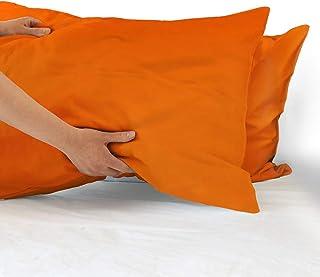 Arancione Viterbo Biancheria Coppia Federe Cuscino Sofia in 100/% Cotone Tinta Unita 50x80CM