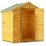 BillyOh Keeper Overlap Garden Shed with Floor | Wooden Garden Storage Shed with Apex Roof & Felt Included | Windowed or Windowless- Multiple Sizes (4x6 Windowless)