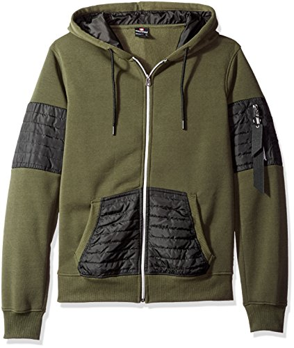 Southpole Men's Long Sleeve Hooded Full Zip Fleece Sweatshirts with Utility Nylon Details, Olive, X-Large