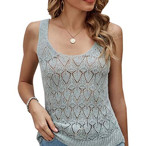 6Wcveuebuc Las mujeres de verano sin mangas de cuello redondo sin mangas Top Sexy Hollow Out Crochet de punto Slim Camisas Simple Color sólido transparente suéter chaleco Streetwear