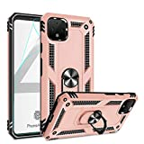 Google Pixel 4 Case, Pixel 4 Phone Case with HD Screen Protector, Gritup 360 Degree Rotating Metal Ring Holder Kickstand Armor Anti-Scratch Bracket Cover Case for Google Pixel 4 Rose Gold