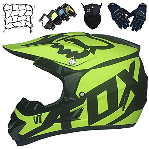 Casco Moto, Conjunto Casco Motocicleta Niños y Jóvenes con Guantes/Gafas/Máscara/Red de Bungy, Casco Motocross de Integral para Adultos para Scooter MTB Quad Enduro ATV - con Diseño Fox