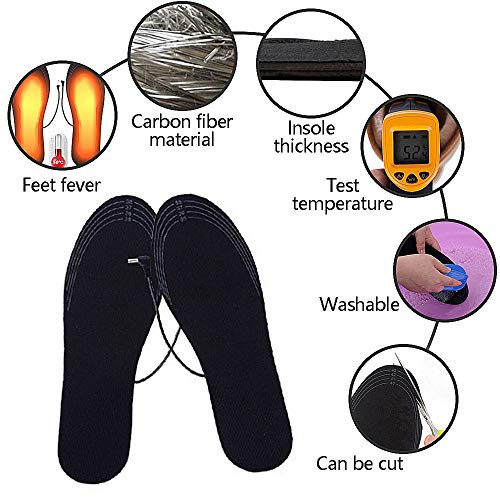 Suxman Semelles chauffantes, Semelle chauffante Electrique USB Taille Ajustable Chauffe Pied pour...