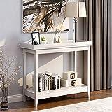 BTM Weißer Holz Konsolentisch, Sofatisch, Flur-Schreibtisch mit Ablage für Wohnzimmer (weiß)
