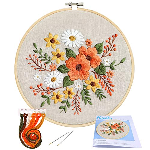Full Range of Embroidery Starter Kit with Pattern, Kissbuty Stamped Embroidery Kit Including Embroidery Cloth with Pattern, Bamboo Embroidery Hoop, Color Threads Needle Kit (Flowers)