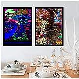 Abstrakte Schwarzlicht Gemälde Kunst Psychedelische Poster Moderne Wand Leinwand Wandbilder Für Wohnzimmer Wohnkultur 40x60x2 Stücke cm Kein Rahmen