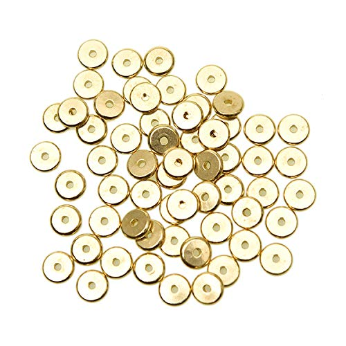 Pomeat 100PCS 8mm Brass Spacer Beads, Metal Smooth Flat Spacer Disk Heishi Spacer Charm Beads Connector for Bracelet Necklace