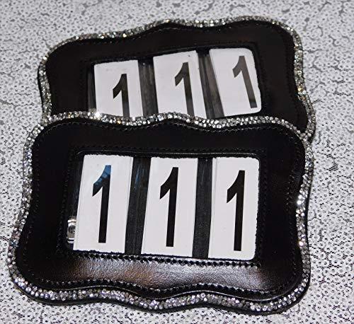 Kopfnummern Kopfnummer Glitzer Leder Straß Schwarz Braun 2 Systeme Turnier Nummer Nummern Tysons (Welle)