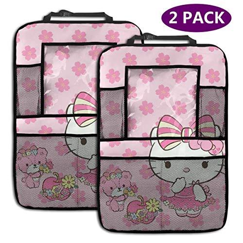 TBLHM Imcute Hello Kitty Lot de 2 Sacs de Rangement pour siège arrière de Voiture avec Support pour Tablette