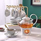 Marble Tea Set Tea Cup Set with Teapot and Saucer Stand Tea Set for Adults Tea Sets for Women Tea Party Service for 6 Tea Cups and Saucers Gray 4OZ Cup 22OZ Teapot 21PCS Set of 6