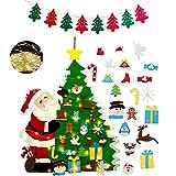 Fieltro Árbol de Navidad con 21 pcs Ornamentos Desmontables con 1 Piezas Banner de Navidad + 3M 30 Luces LED de Cadena,Decoraciones de Navidad Árboles para Niños