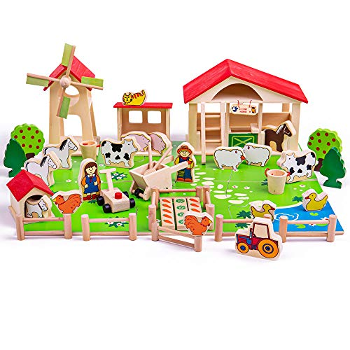 Bigjigs Toys Wooden Farm Playset (50 Pieces)