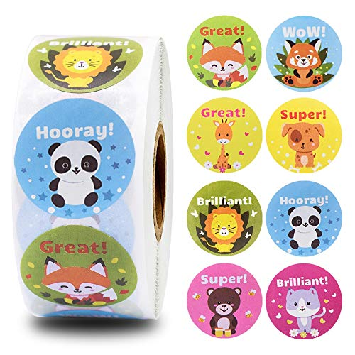 8 Different Cartoon Animals Stickers 500pcs/roll Reward Words Stickers for Teacher Encourage Student Kawaii Sticker for Kids Toy