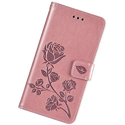 Urhause Funda Relieve Compatible con iPhone 7 Plus/8 Plus,Flor Rosa Carcasa Libro con Tapa Flip Case Protectora Cuero PU Billetera Cover Cartera Soporte Cierre Magnético Cubierta Case,Oro Rosa