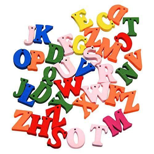Collectsound 100 piezas letras de madera botón mezclado A-Z alfabeto botón con agujeros DIY costura manualidades scrapbooking colores mixtos