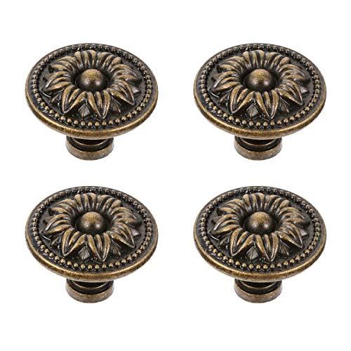 DOITOOL 4 pomos de metal vintage con diseño de flores antiguas en relieve para gabinete de un solo agujero, asas redondas de bronce, tiradores para aparador, cajón, puerta (3 cm)