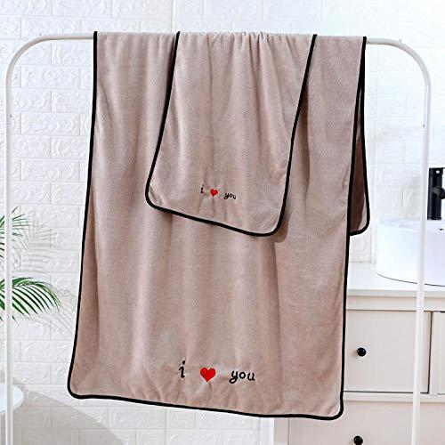 B/H Juego de Toallas para Lavado y baño,Juego de Toallas de baño, Toalla Absorbente Bordada, Color Caqui