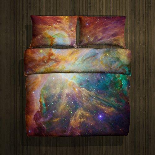 Bettwäsche, 2-teilig, Galaxis Nebel Stern Design - Deckenbezug (135x200 cm) und 1 Kissenbezug (80x80 cm) aus Microfaser - Sehr weicher Stoff - In Europa hergestellt - Oeko TEX Zertifiziert (Nebula 1)