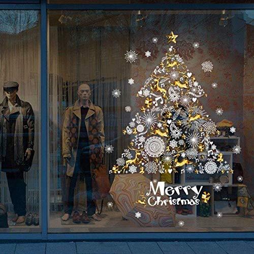HULINJI Frohe Weihnachten Wandaufkleber Weihnachtsdekoration Glasaufkleber Weihnachtsbaum Muster Glasvitrine Fenster Tür Hintergrund