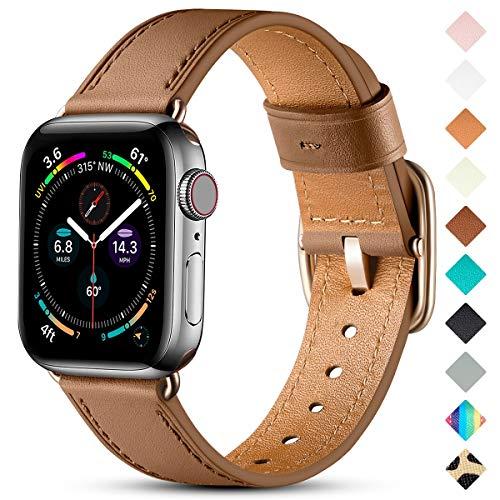 Oielai Correa de Cuero Compatible con Apple Watch Correa 38mm 40mm 42mm 44mm, Suave Genuino Cuero Reemplazo Correa para iWatch SE/Series 6 5 4 3 2 1, 38mm/40mm, Marrón