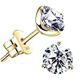 'STUNNING FLAME' 18K Gold Plated Silver Brilliant Cut Simulated Diamond CZ Stud Earrings (yellow-gold-plated-sterling-silver, 2.4)