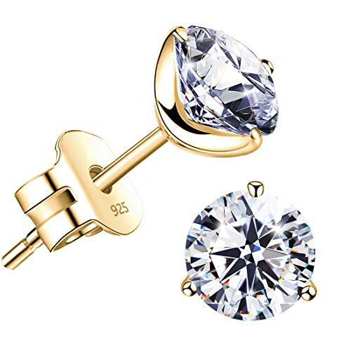 quotSTUNNING FLAMEquot 18K Gold Plated Silver Brilliant Cut Simulated Diamond Cubic Zirconia Stud Earringsyellowgoldplatedsilver 10