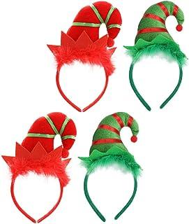 Beaupretty Ponto 4Pcs Duende Do Natal Headband Do Natal Chapéu Headwear Chapéu Do Duende Do Natal Headband Do Natal Anão C...