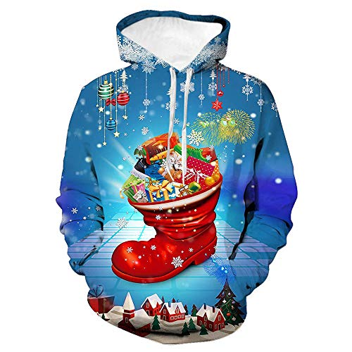 Morton PegfwaS Santa Kostüm Santa 3D bedruckte lässige Sweatshirtjacke mit Kapuze