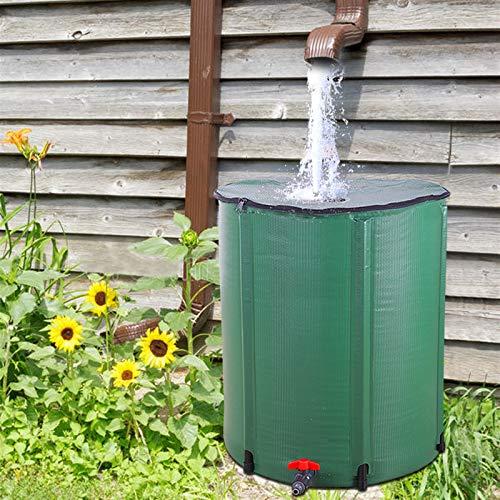 Fookduoduo - Barilotto pieghevole da 50 galloni, serbatoio portatile per acqua piovana, sistema di raccolta acqua piovana, contenitore per acque con kit di troppopieno filtro (50 galloni)