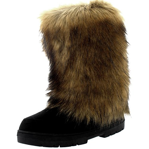 Womens Eskimo Big Rabbit Fur Covered Winter Fur Lined Long Winter Boots - Black - US9/EU40 - BA0495