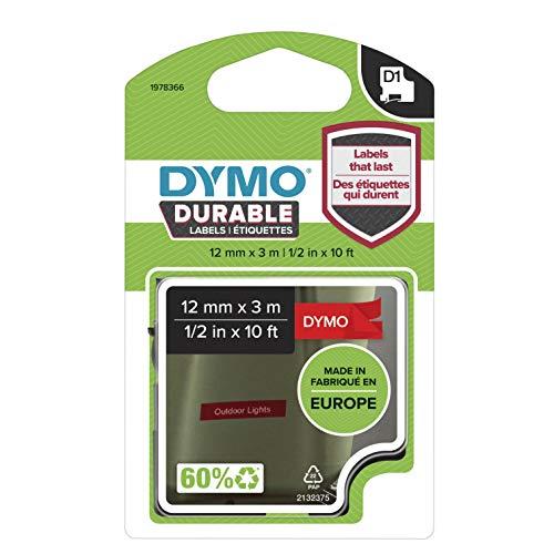 DYMO D1 Hochleistungs-Etikettenband | weiß auf rot |12 mm B x 3 m L | für LabelManager-Beschriftungsgerät | authentisches Produkt