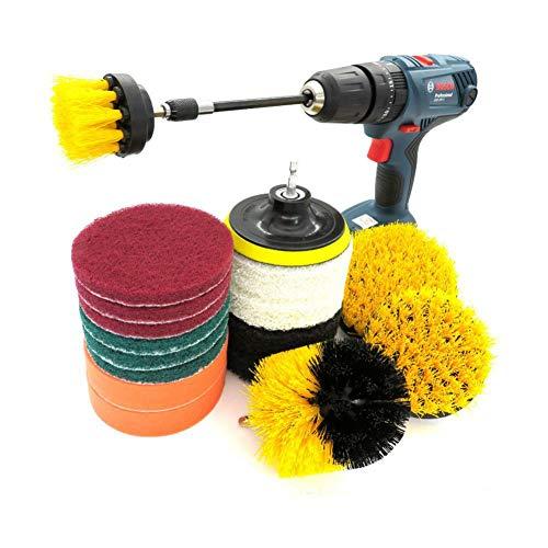 18-teiliges Nylon-Bohrbürstenset Für Sofa, Küche, Bad Scrubber Brush Scouring und Scrub Pads Allzweckreiniger