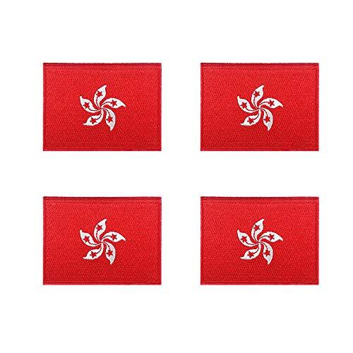 Aufnäher / Aufbügler / Aufbügler Hongkong Flagge, bestickt, 4 Stück