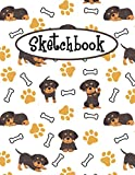 Sketchbook: Cute Rottweiler Sketchbook | Large Blank Paper For Drawing, Doodling Painting, Or Sketching | Gifts for Kids Girls Boys Teens and Dog Pet ... | Pretty Little Puppies Pattern Cover Design