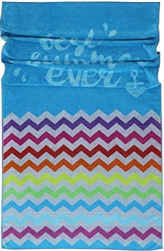 Lashuma XXL ręcznik plażowy, 100 x 180 cm, Teneriffa z wzorem zygzakowym, bawełniany ręcznik kąpielowy z turkusem, welurowy koc plażowy