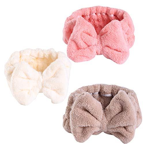 Bowknot - Fascia elastica in corallo, per il trucco del viso, per la doccia, per ragazze e donne, 3 pezzi