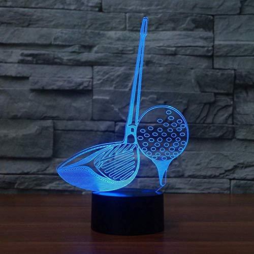3D LED nachtlampje slaapverlichting 7 patronen voor golfclubs golfclubs tafellamp met touchschakelaar USB Office Decor