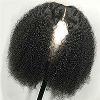 150%の密度黒アフロ変態カーリーグルーレスブラジルレミーの髪13X4レースのかつらを持つ女性のためのレースのフロント人毛ウィッグ,14inches