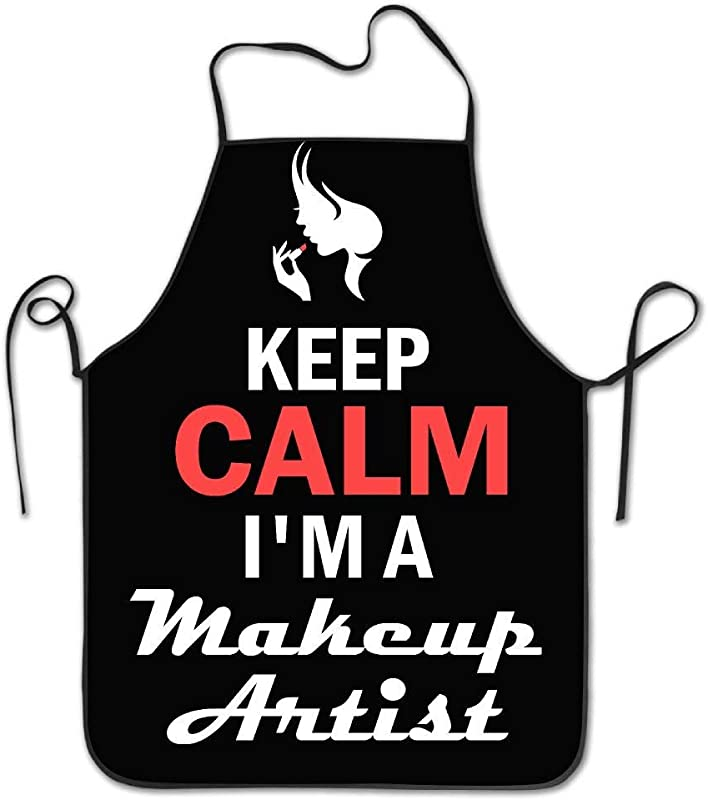 AshasdS AfagaS Keep Calm I M A Makeup Artist Design Chef Apron For Women Men Barber Cooking Crafting