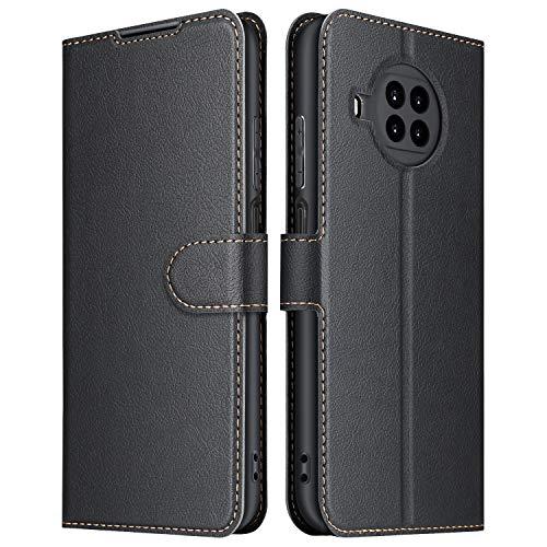 ELESNOW Hülle für Xiaomi Mi 10T Lite 5G, Premium Leder Flip Schutzhülle Tasche Handyhülle mit [ Magnetverschluss, Kartenfach, Standfunktion ] für Mi 10T Lite 5G (Schwarz)