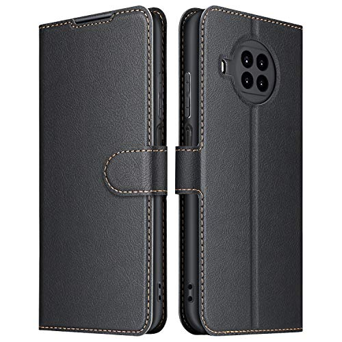 ELESNOW Funda Xiaomi Mi 10T Lite 5G, Cuero Premium Flip Folio Carcasa Case para Xiaomi Mi 10T Lite 5G (Negro)