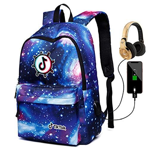 Tiktok Shake Record Hermosa Vida Bolsa de Hombro Galaxy Mochila Hombres Y Mujeres Bolso Estudiante USB Carga + Auriculares-Color4