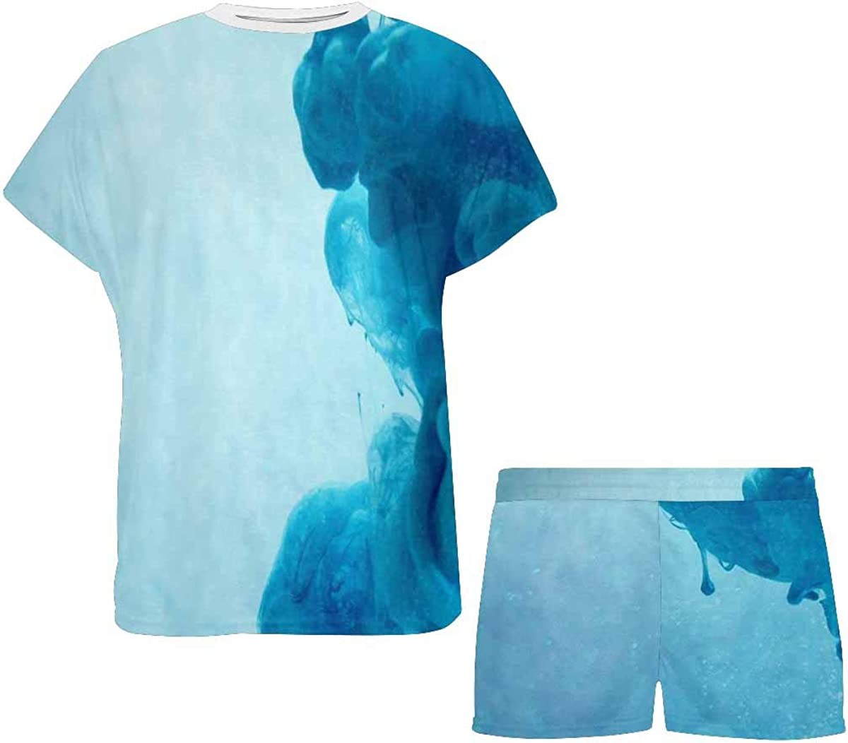INTERESTPRINT Blue Color Cloud Square Cut Women's Breathable 2 Piece Shorts Pajama Sleepwear Set