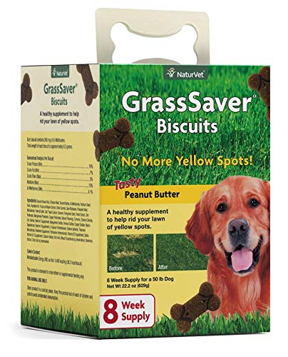 NaturVet – GrassSaver Biscuits for Dogs – Healthy Supplement to Help Rid Your Lawn of Yellow Spots – Enhanced with a Tasty Peanut Butter Flavor – 22 oz Box
