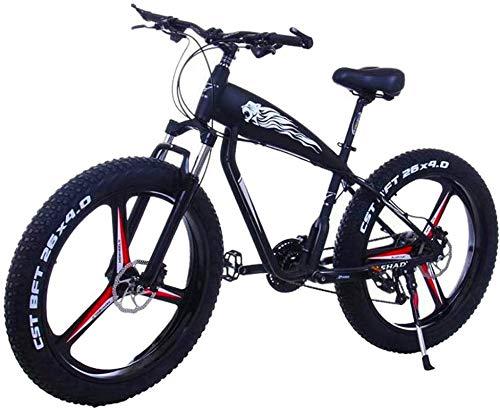 Bicicleta de montaña eléctrica, Eléctrica de bicicletas de montaña de 26 pulgadas Fat Tire E-Bici 21/2427 Velocidades de crucero de la playa Deportes Bicicletas BTT Frenos de nieve Bicicleta de litio