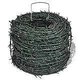 Dioche Alambre de espino de alambre de espino impermeable, alambre de acero galvanizado utilizado en jardines de gallinero para mejorar la seguridad con una longitud total de 100 metros, color verde