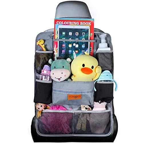 SURDOCA Autositz-Organizer – 4th Generation verbesserter Auto-Organizer Rücksitz für bis zu 10,5 iPad, 9 Taschen, Kinderspielzeug-Aufbewahrung, wasserdichter Rücksitzschutz für Kinder,Grau,1 Stück
