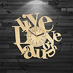 Live Love Laugh Wood Clock, Wall Clock Modern, Live Love Laugh Wooden Clock, Wall Clock Vintage, Birthday Gift, Wall Clock Large, Love Gift For Woman, Love Laugh Gift For Girl, Wall Clock Modern